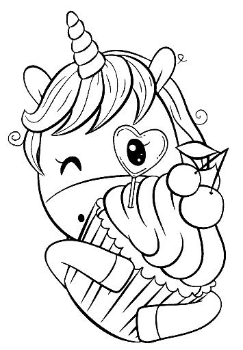 Раскраска «Единорожка со сладостями». №163370