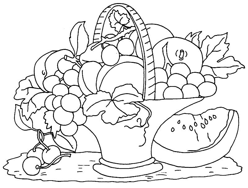 кассационный корзина с фруктами картинка для раскрашивания разницей лишь том