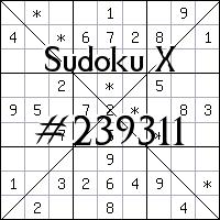Судоку-диагональ №239311