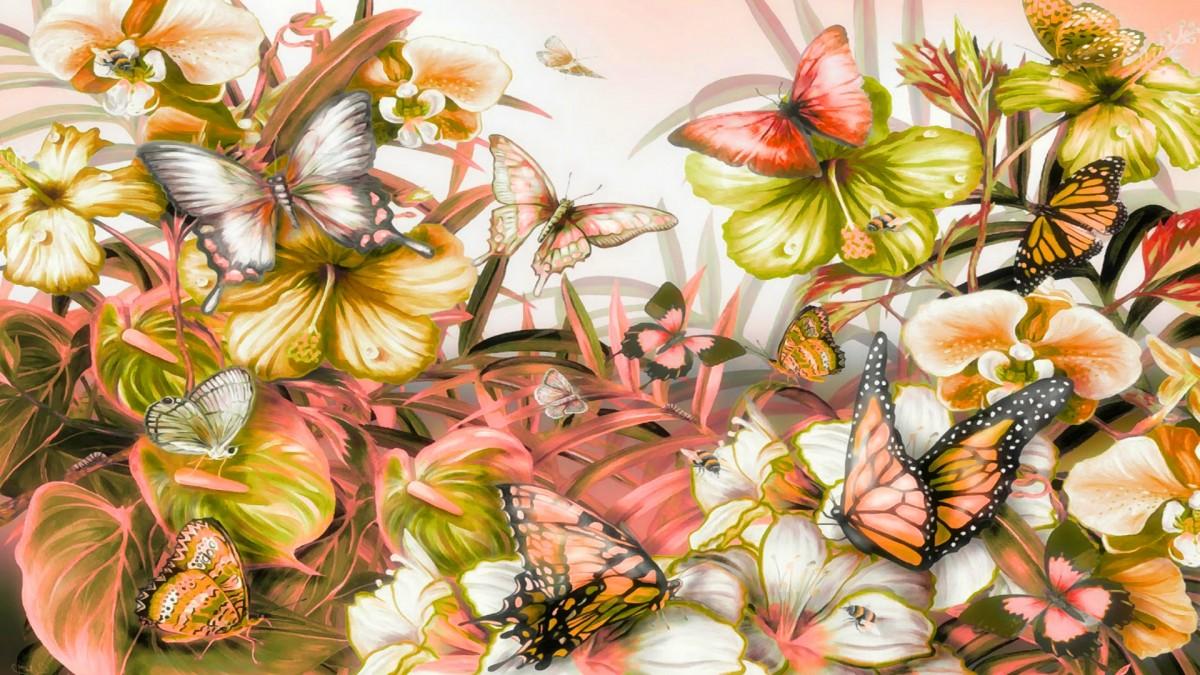 Пазл Собирать пазлы онлайн - Бабочки и цветы