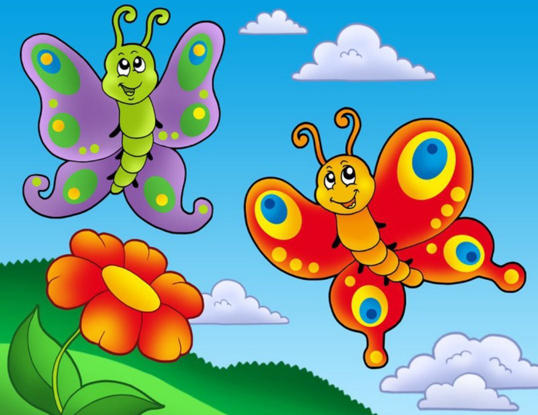 Пазл Собирать пазлы онлайн - Бабочки и цветок