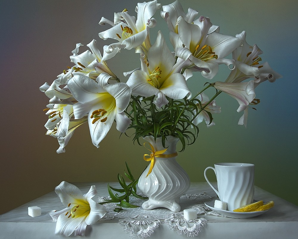 Пазл Собирать пазлы онлайн - Белые лилии