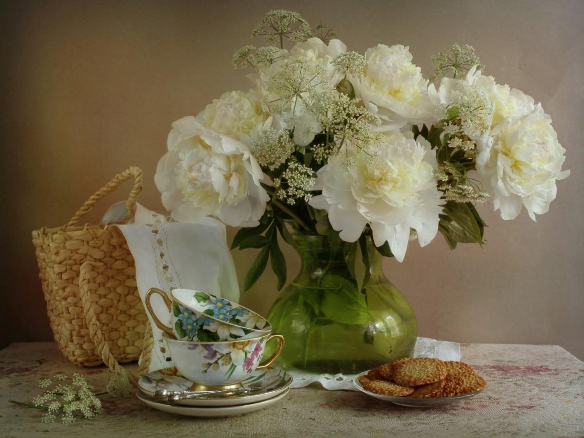 Пазл Собирать пазлы онлайн - Белые цветы
