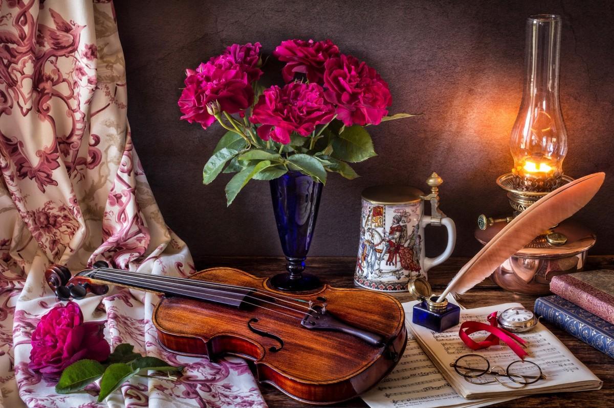 Пазл Собирать пазлы онлайн - Букет и скрипка