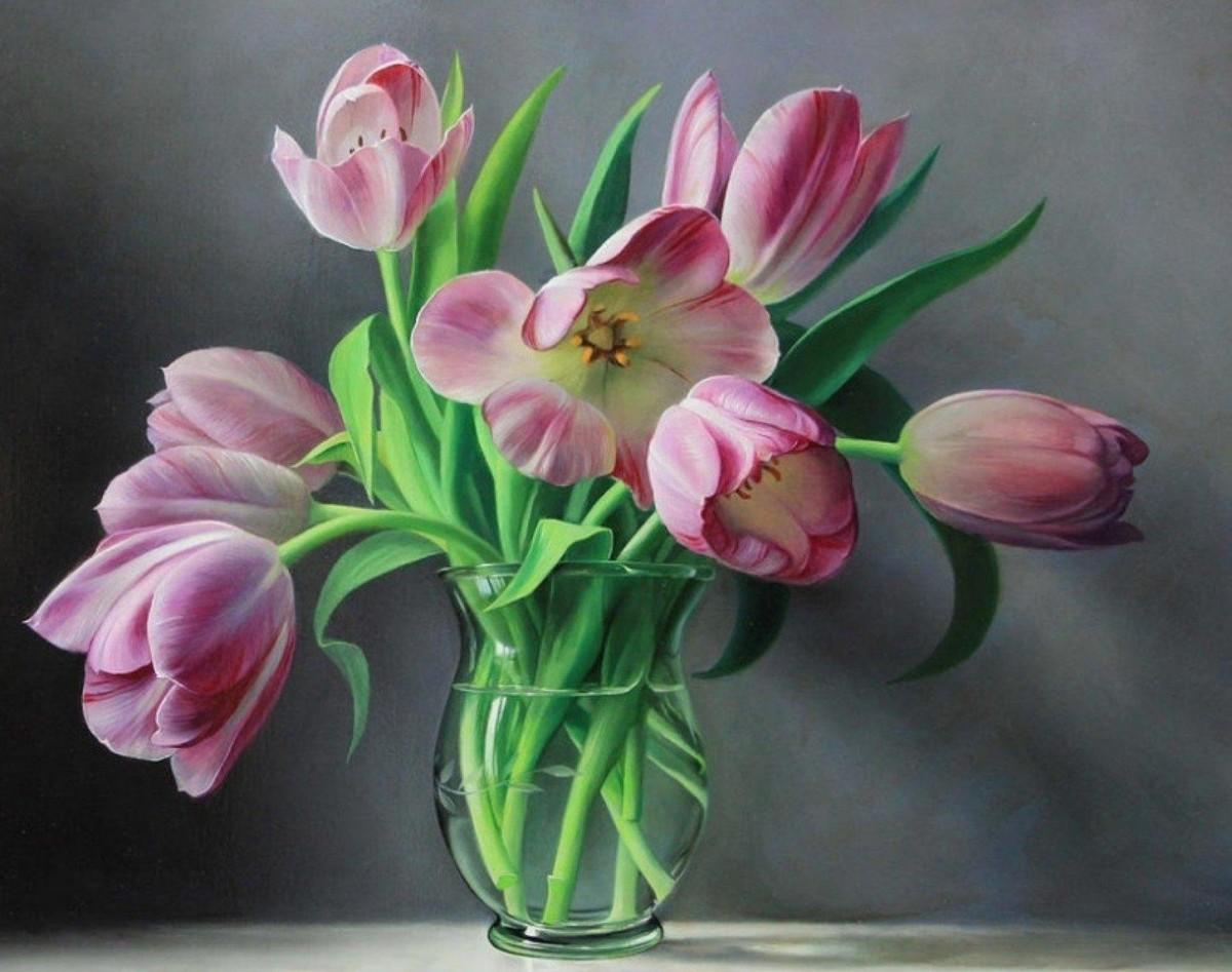 Пазл Собирать пазлы онлайн - Букет тюльпанов