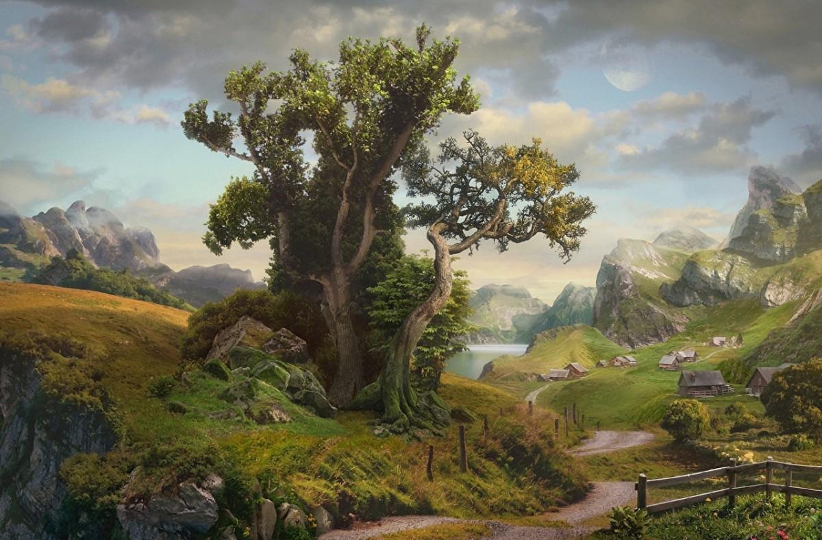 Пазл Дерево на окраине