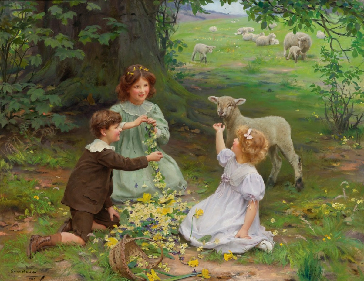 Пазл Собирать пазлы онлайн - Дети и овца