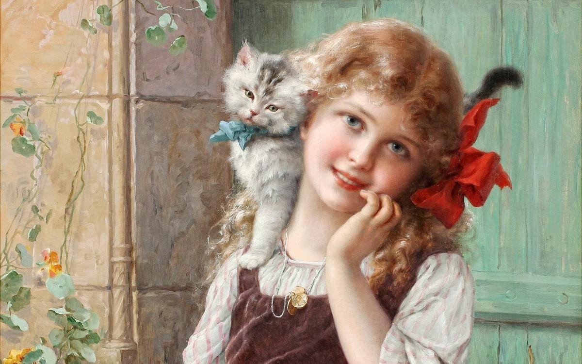 Пазл Собирать пазлы онлайн - Девочка с котёнком