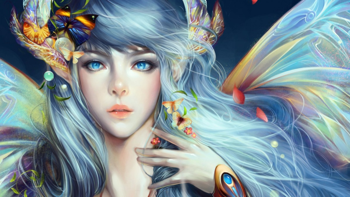 Пазл Собирать пазлы онлайн - Девушка и бабочки