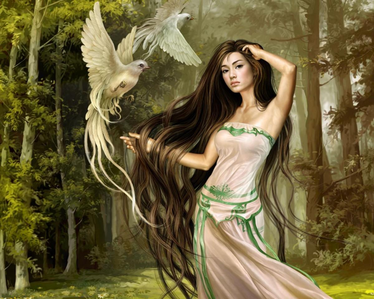 Пазл Собирать пазлы онлайн - Девушка и птицы