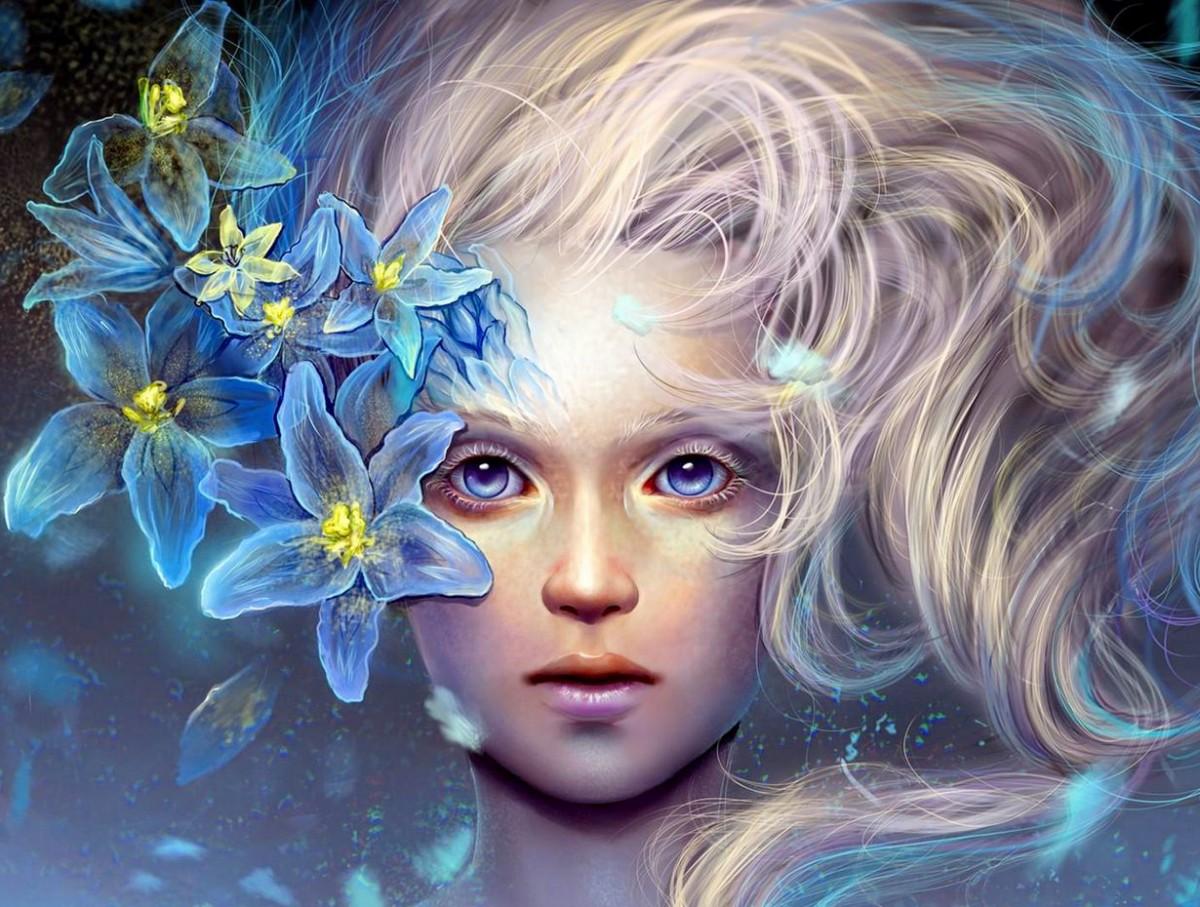 Пазл Собирать пазлы онлайн - Девушка с лилиями