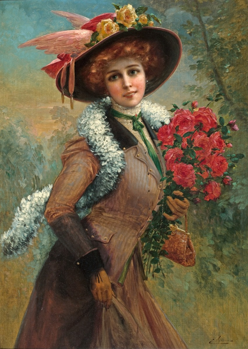 Пазл Собирать пазлы онлайн - Девушка с цветами