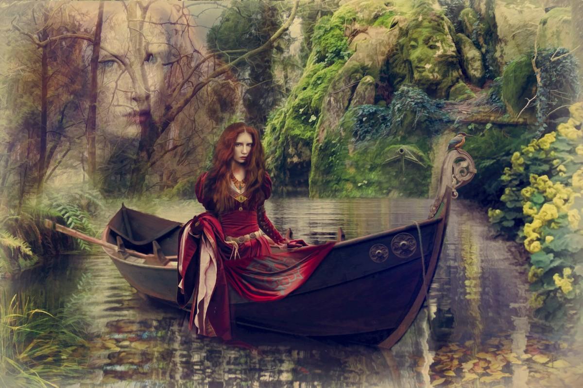 Пазл Собирать пазлы онлайн - Девушка в лодке