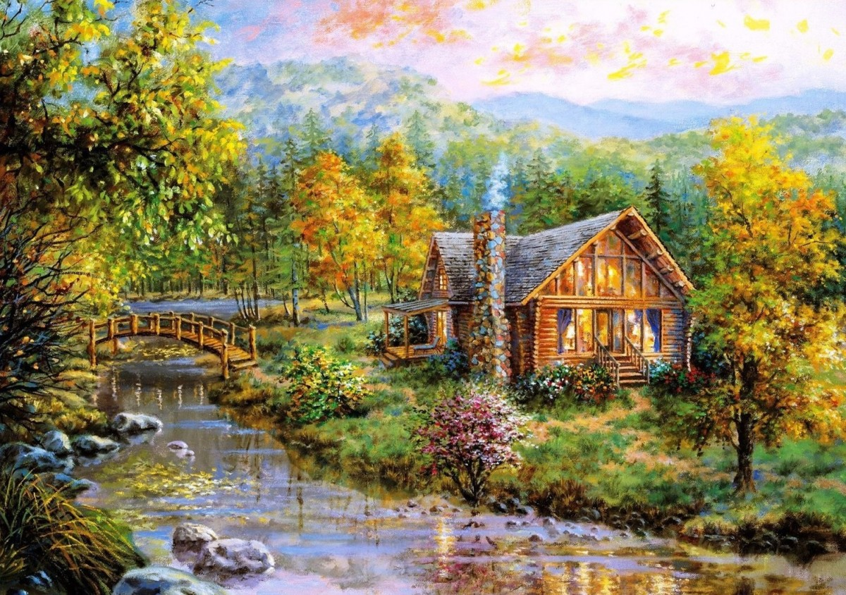 Пазл Собирать пазлы онлайн - Дом на реке