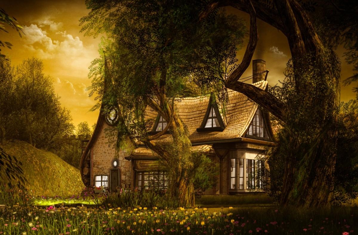 Пазл Собирать пазлы онлайн - Дом за деревьями