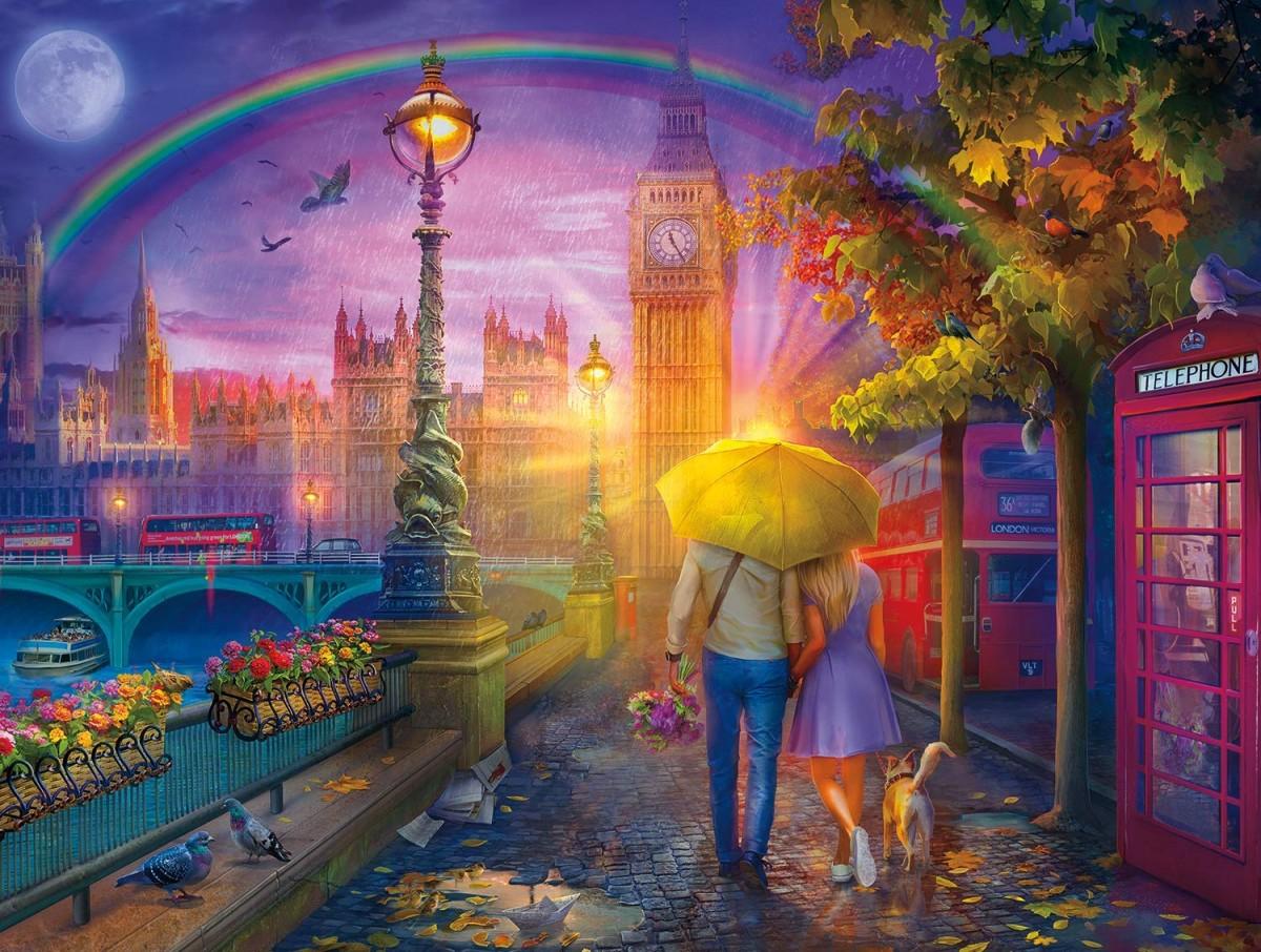 Пазл Собирать пазлы онлайн - Дождь в Лондоне