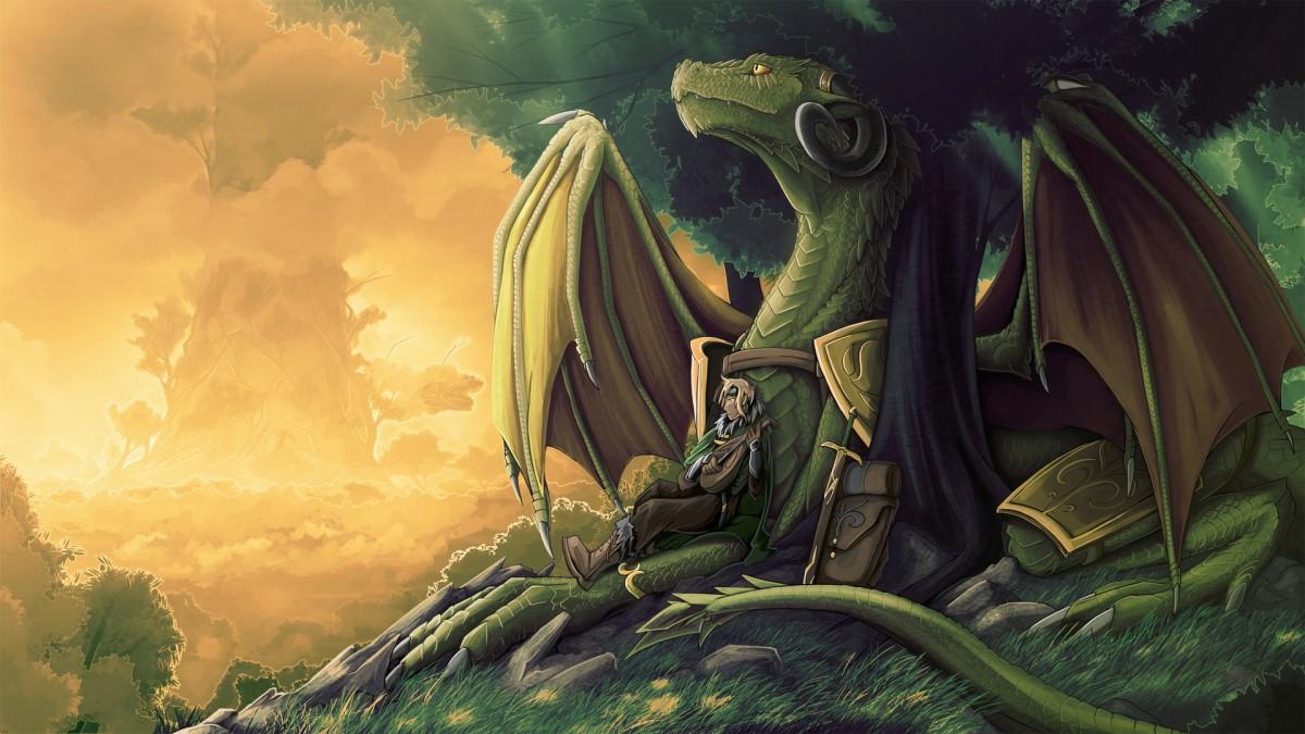 Пазл Собирать пазлы онлайн - Дракон и воин