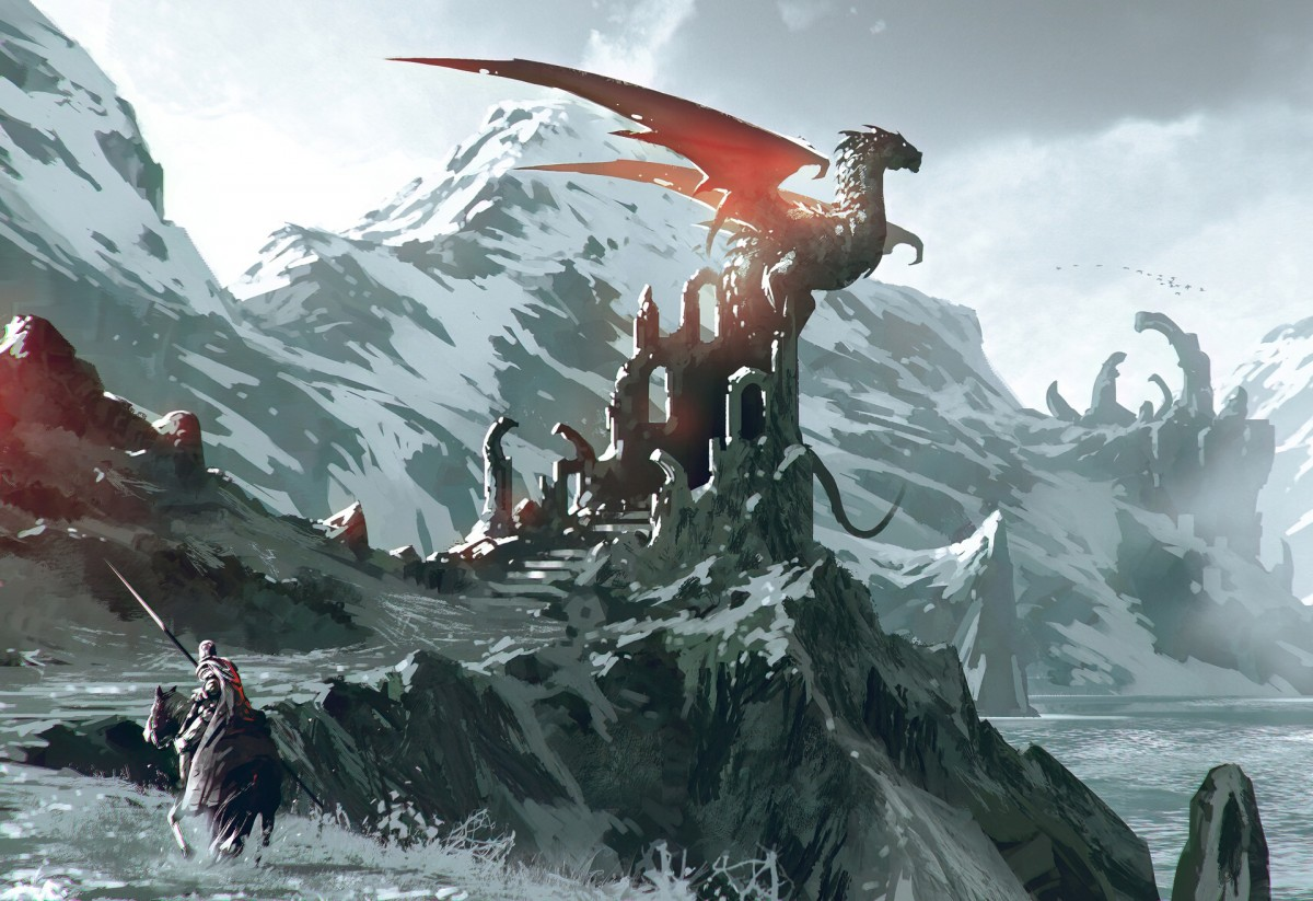 Пазл Собирать пазлы онлайн - Дракон на руинах