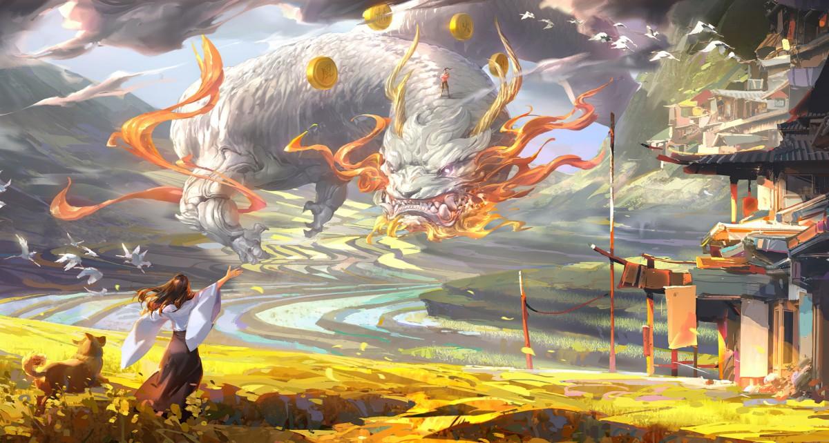 Пазл Собирать пазлы онлайн - Дракон с монетами