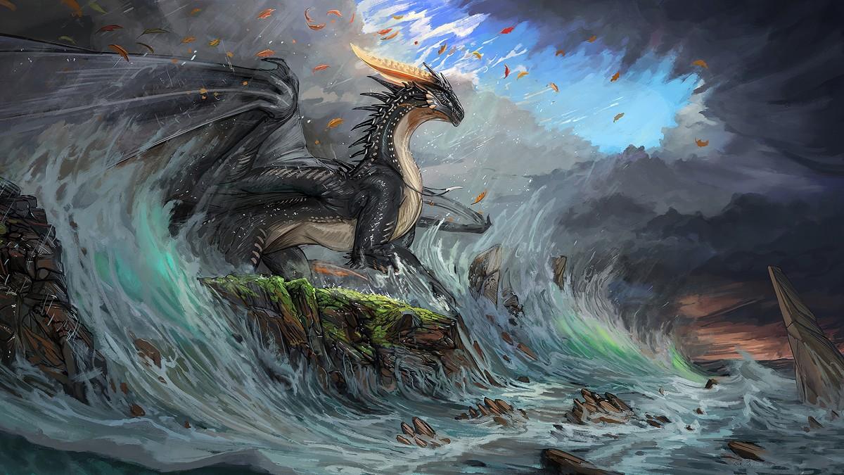 Пазл Собирать пазлы онлайн - Дракон в волнах