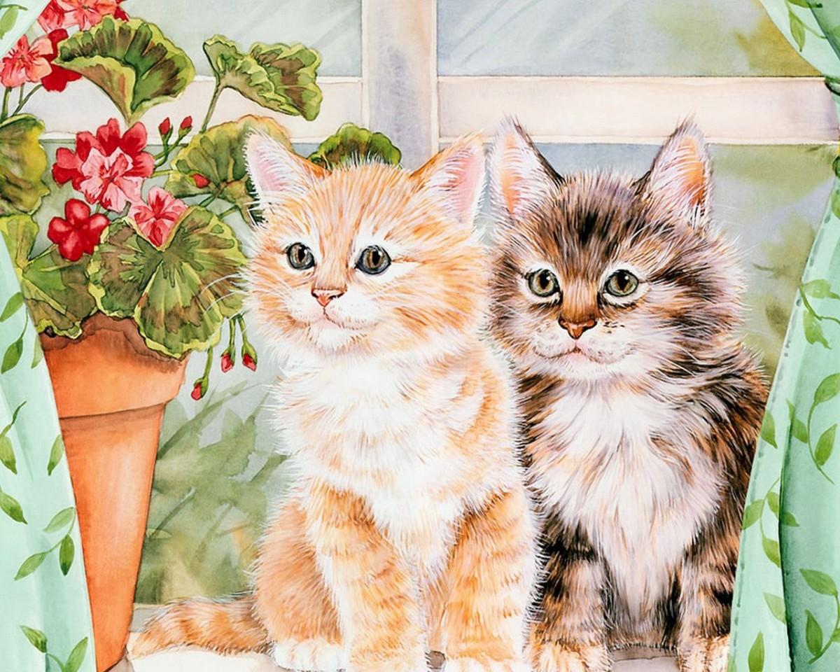 Пазл Собирать пазлы онлайн - Два котенка