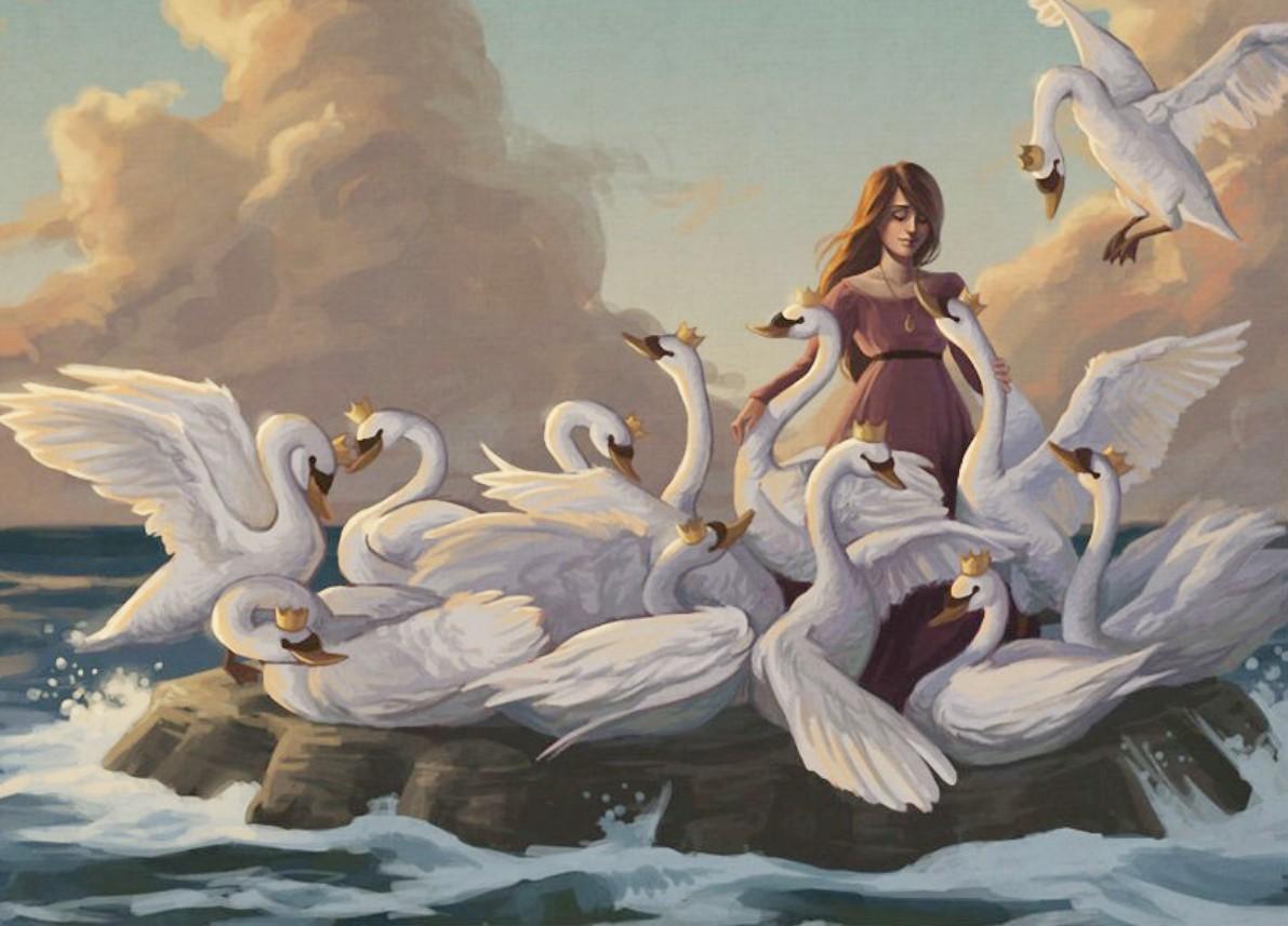 Пазл Собирать пазлы онлайн - Элиза и лебеди