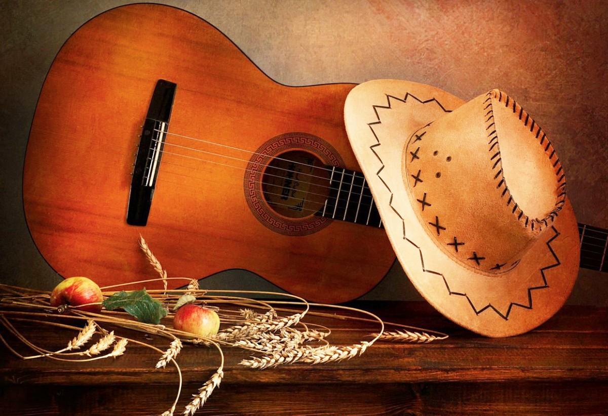 Пазл Собирать пазлы онлайн - Гитара и шляпа