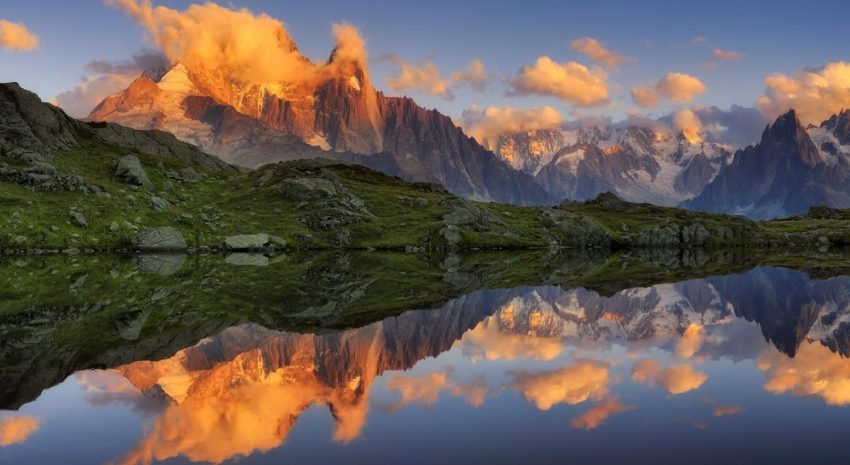 Пазл Собирать пазлы онлайн - Горы и отражение