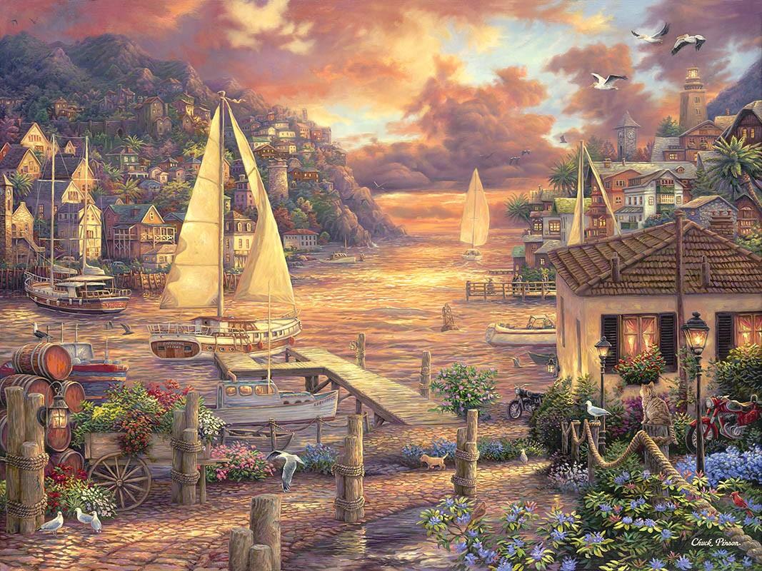 Пазл Собирать пазлы онлайн - Городок у моря