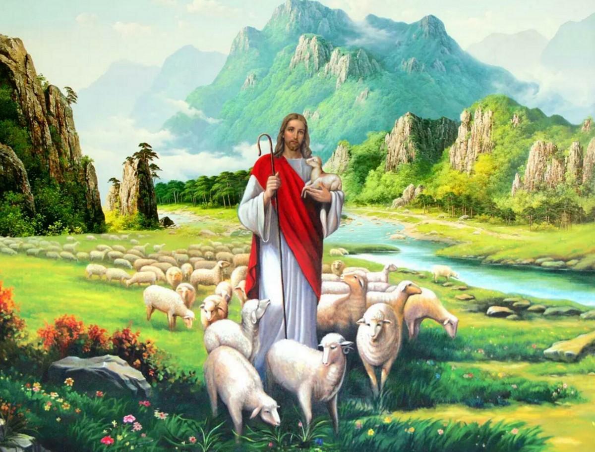 Пазл Собирать пазлы онлайн - Иисус и овцы