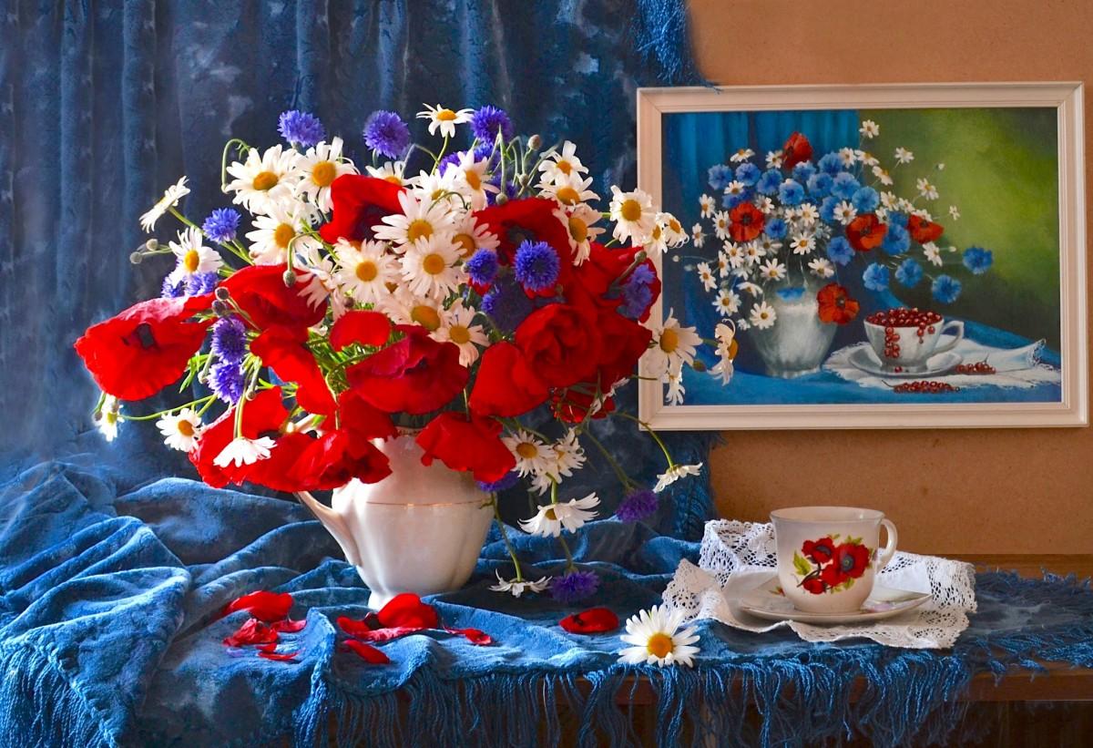 Пазл Собирать пазлы онлайн - Июльские цветы