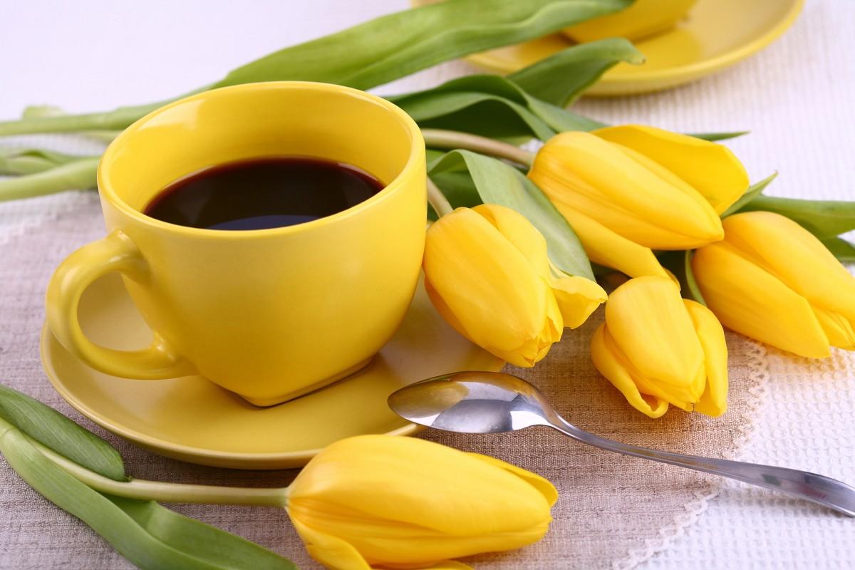 Пазл Собирать пазлы онлайн - Кофе в желтом