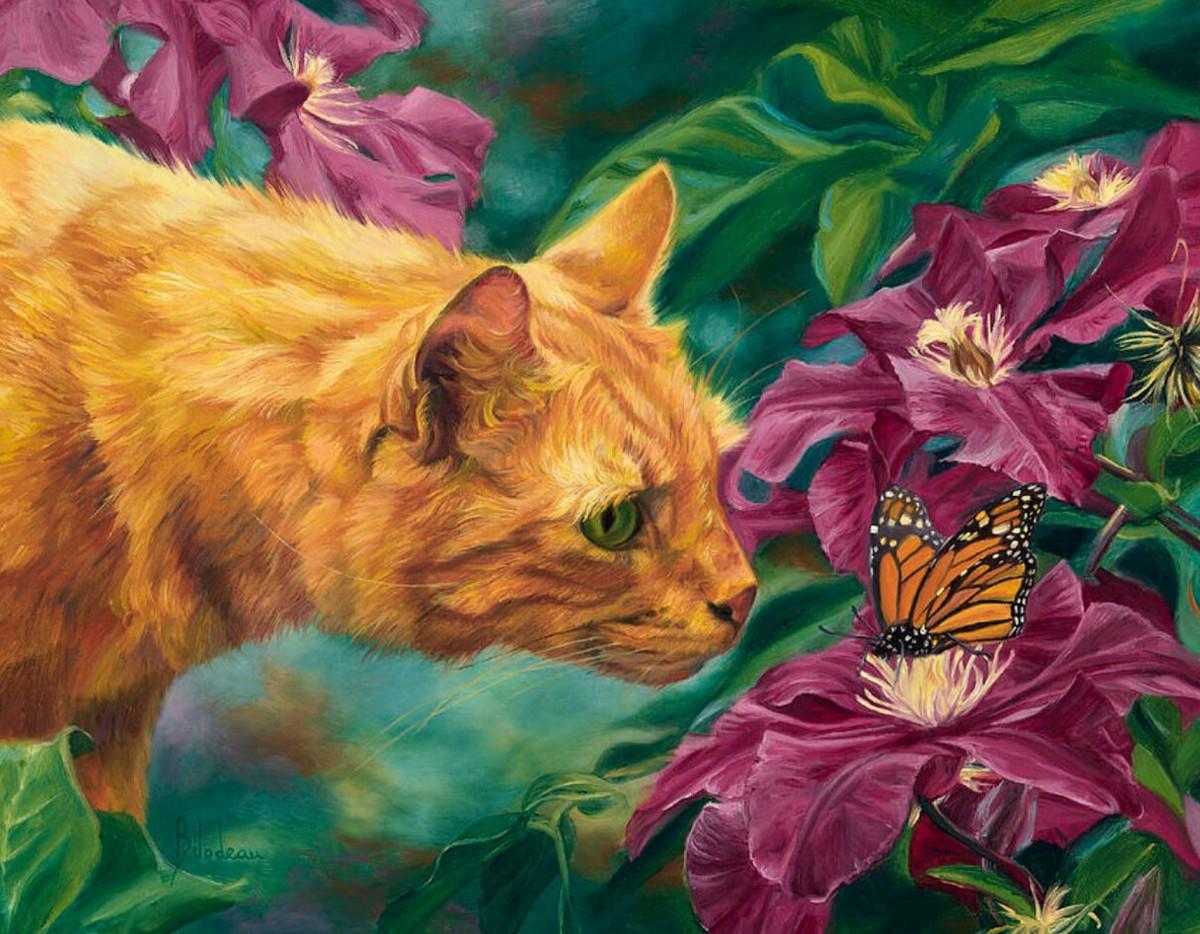 Пазл Кот и бабочка