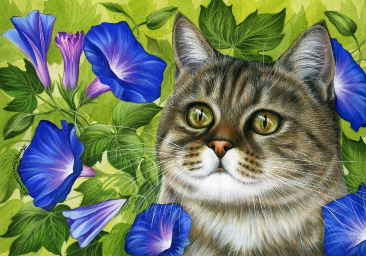 Пазл Собирать пазлы онлайн - Ипомея и кот