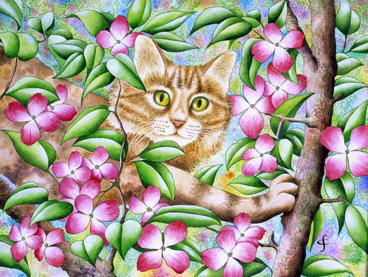 Пазл Собирать пазлы онлайн - Кот на дереве