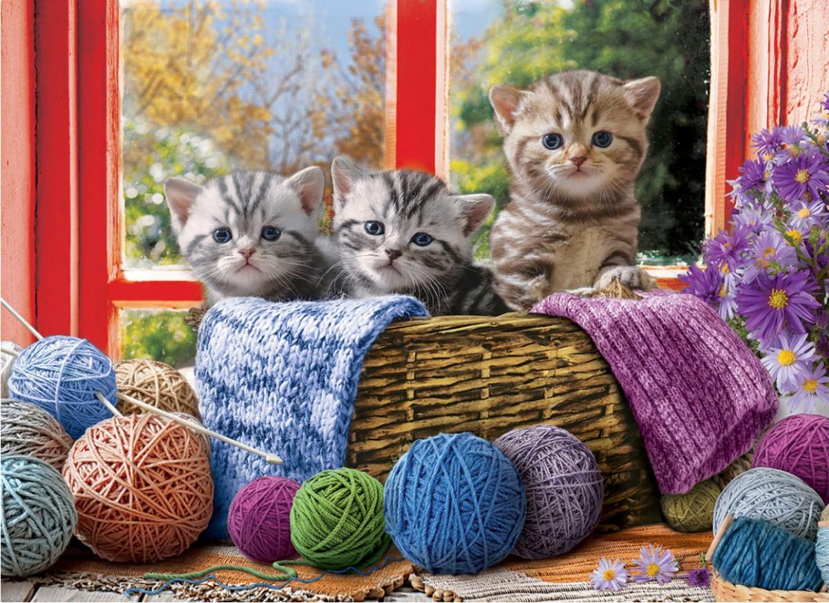 Пазл Собирать пазлы онлайн - Котята в корзине