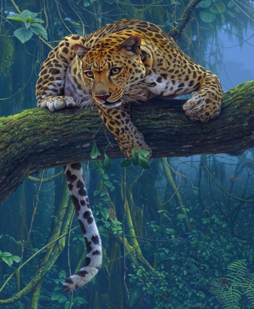 Пазл Собирать пазлы онлайн - Леопард на дереве