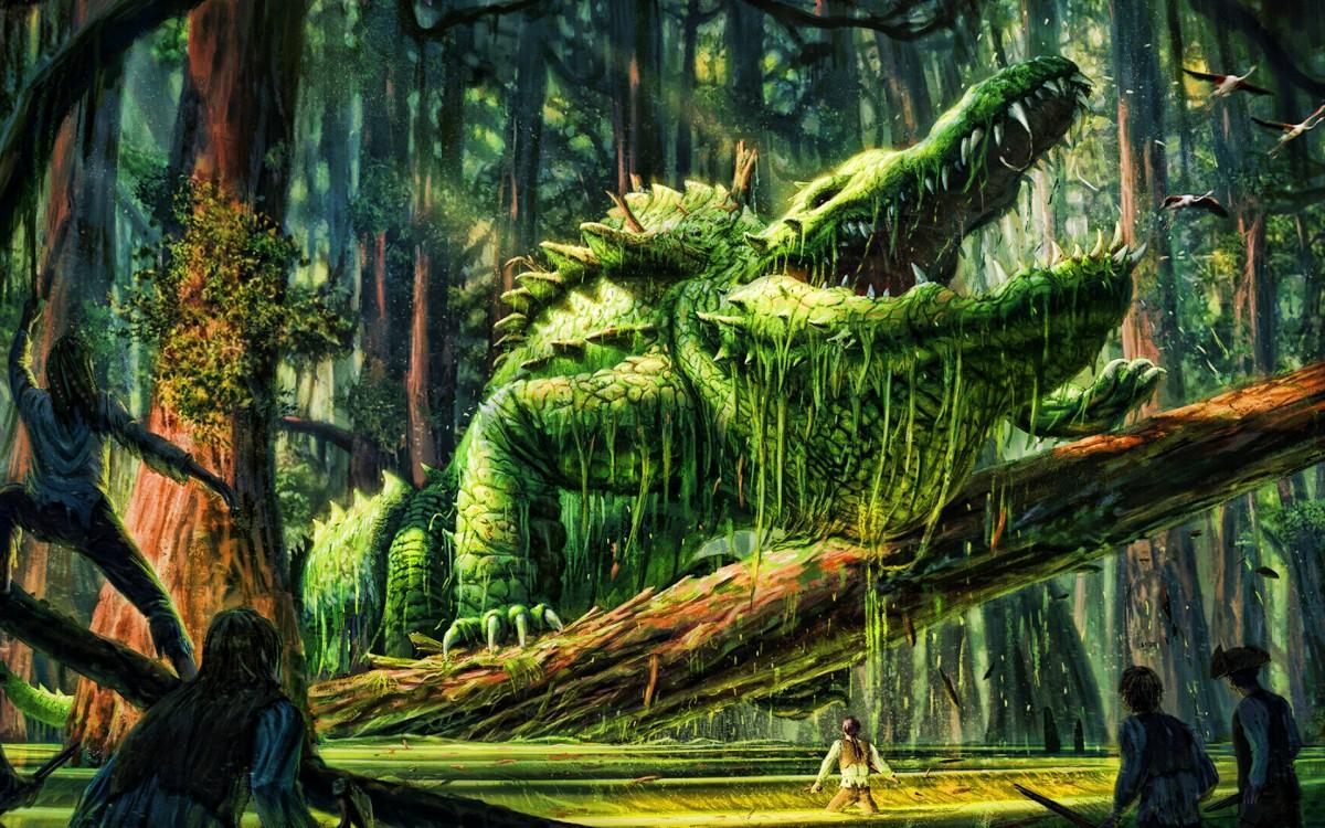 Пазл Собирать пазлы онлайн - Лесной крокодил
