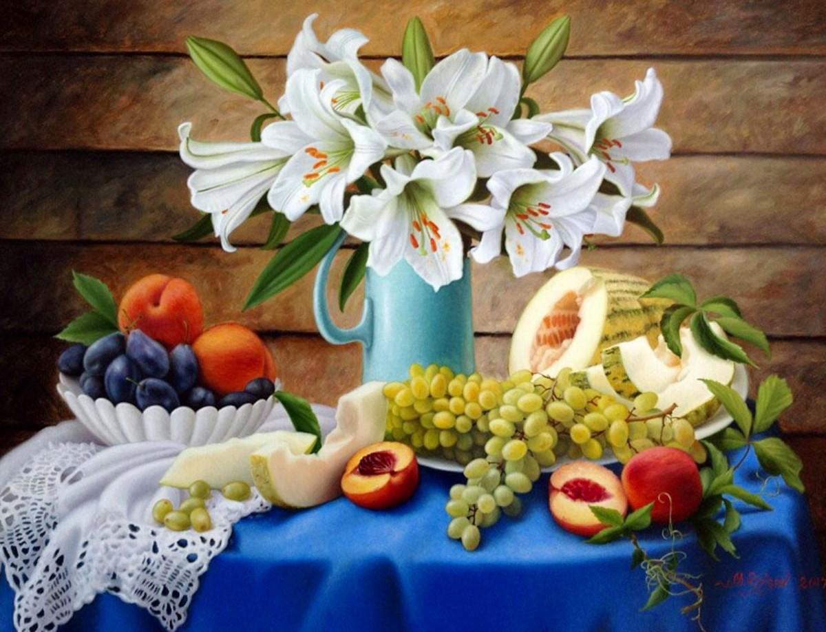 Пазл Собирать пазлы онлайн - Лилии и фрукты