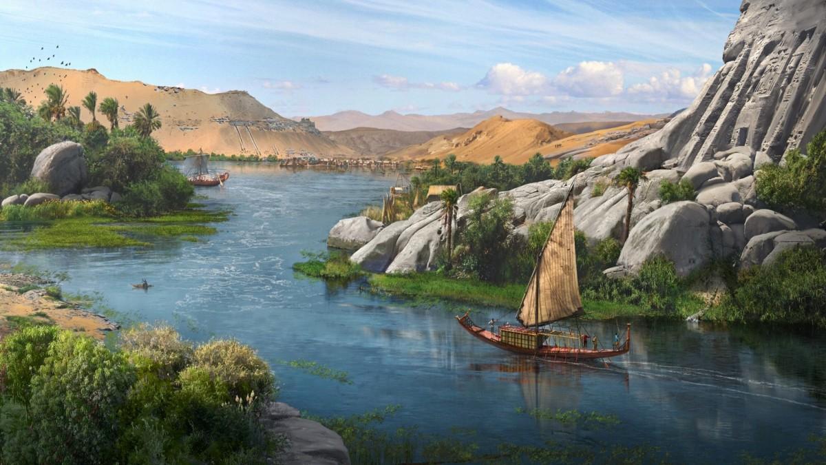 Пазл Собирать пазлы онлайн - Лодка на Ниле