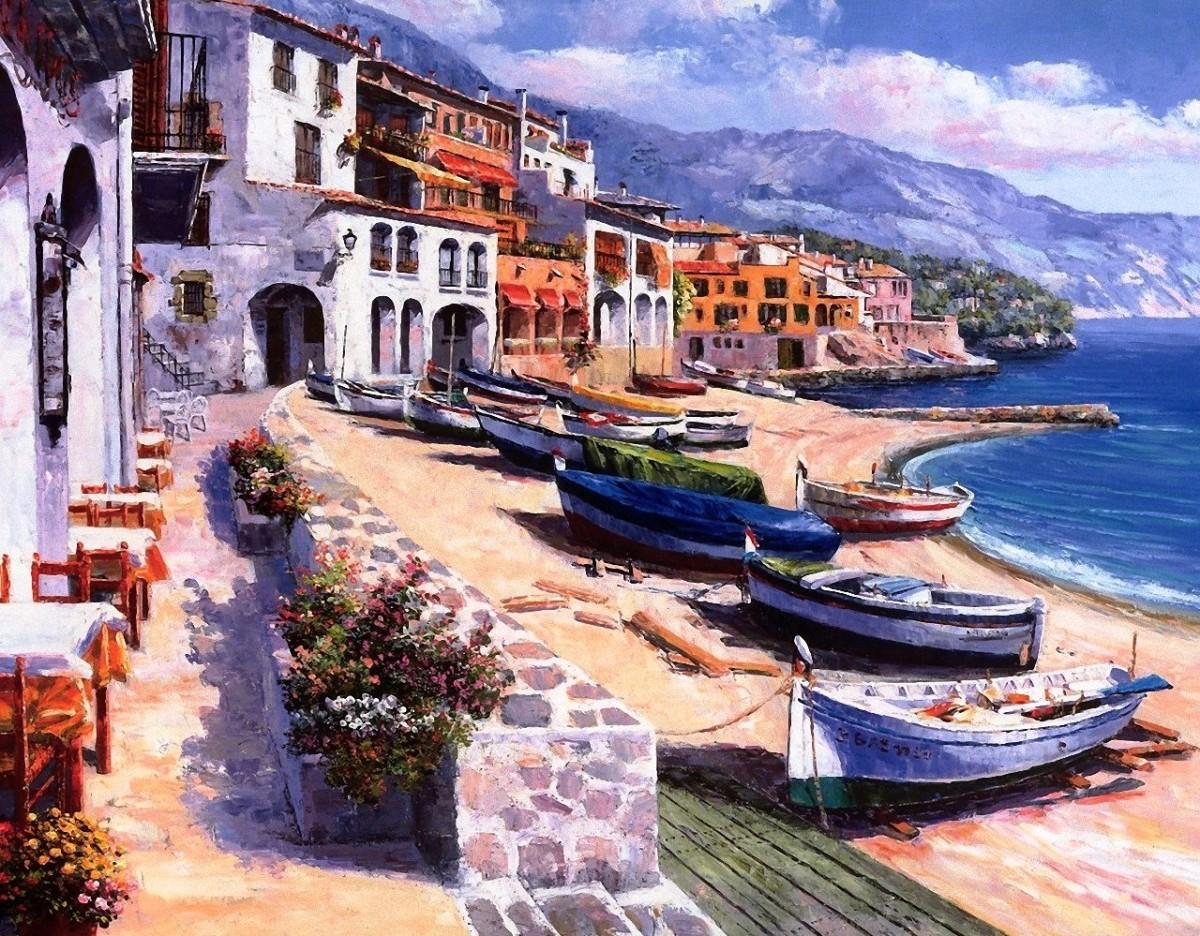 Пазл Собирать пазлы онлайн - Лодки в гавани