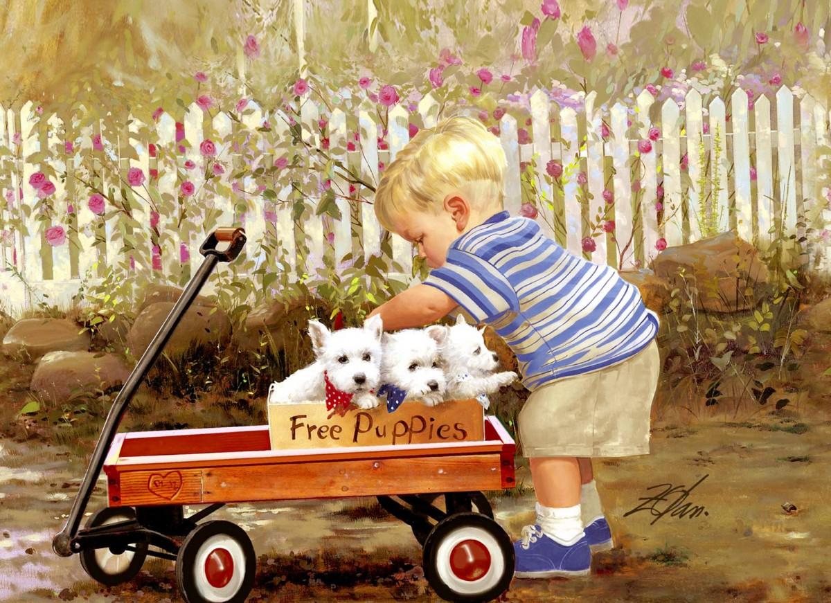 Пазл Собирать пазлы онлайн - Малыш и щенки