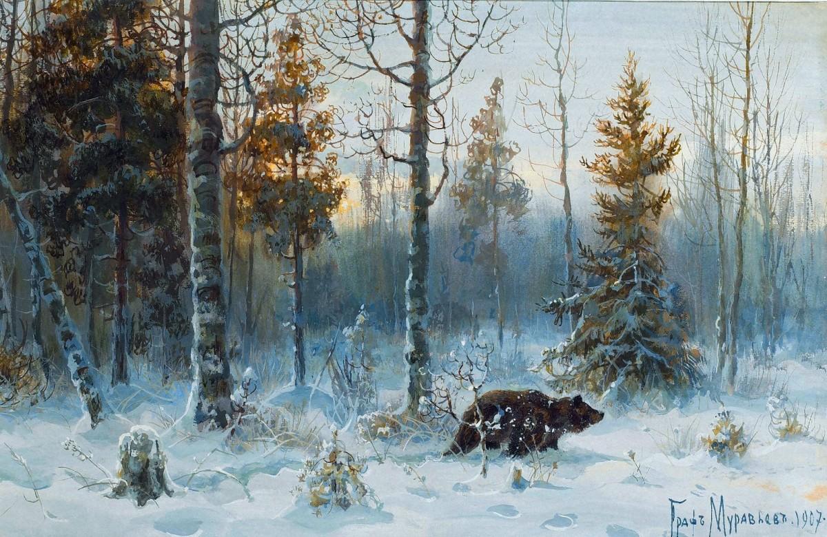 Пазл Собирать пазлы онлайн - Медведь зимой