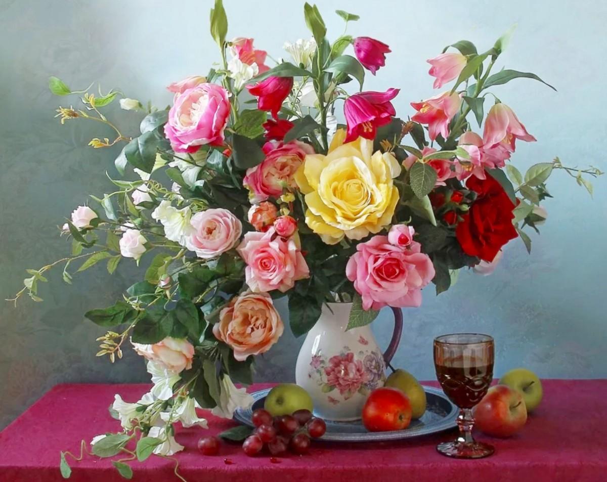 Пазл Собирать пазлы онлайн - Натюрморт с цветами