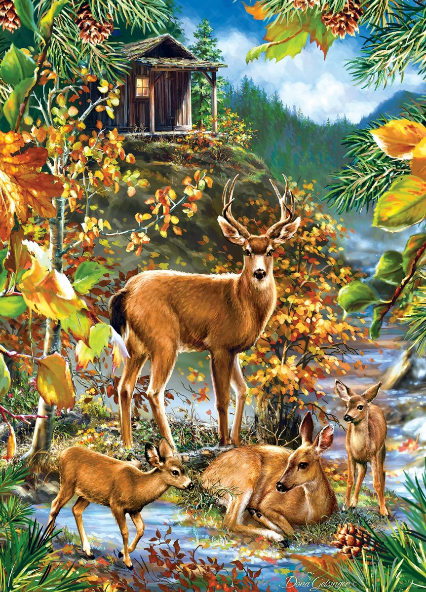 Пазл Собирать пазлы онлайн - Олени в лесу