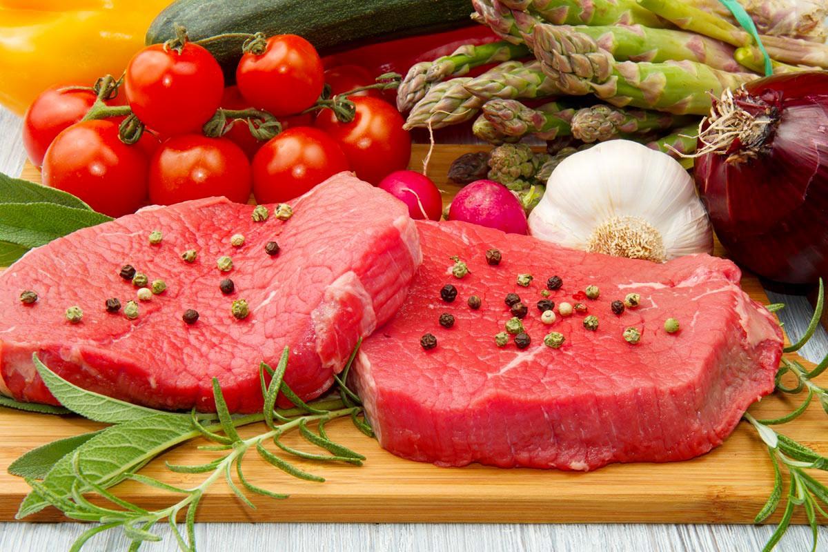 Пазл Собирать пазлы онлайн - Овощи и мясо