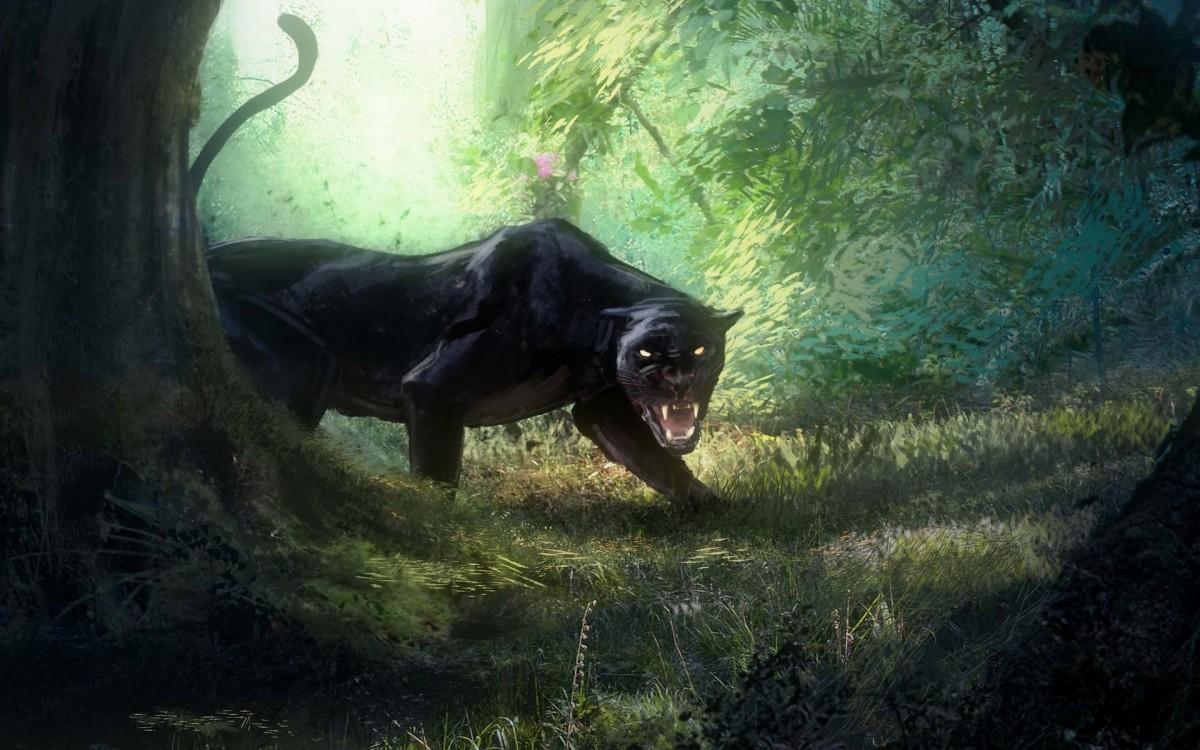 Пазл Собирать пазлы онлайн - Пантера в лесу