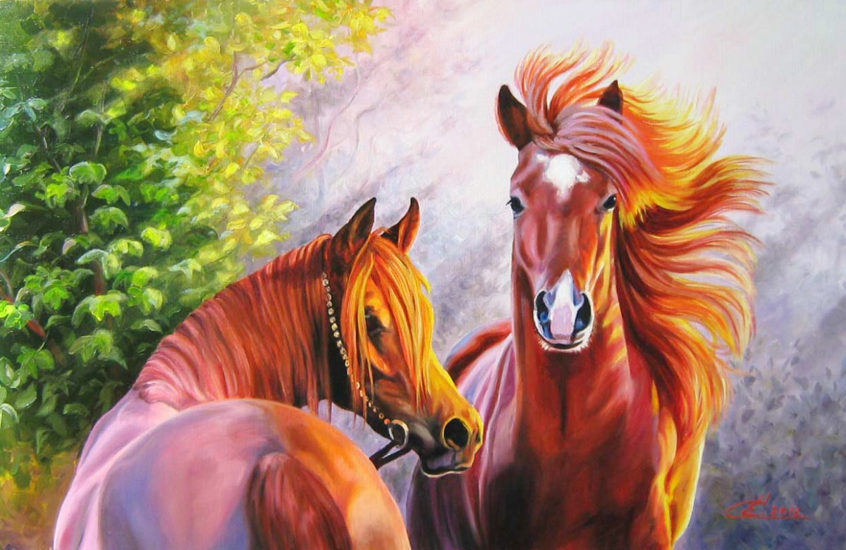 Пазл Собирать пазлы онлайн - Пара лошадей