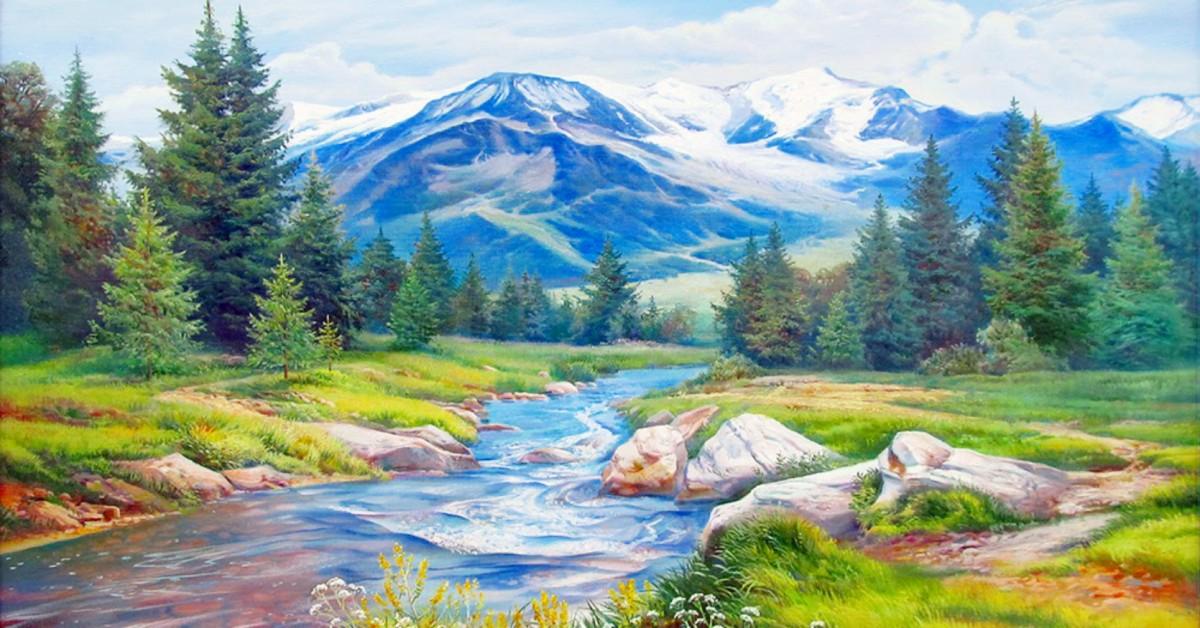 Пазл Собирать пазлы онлайн - Пейзаж с рекой