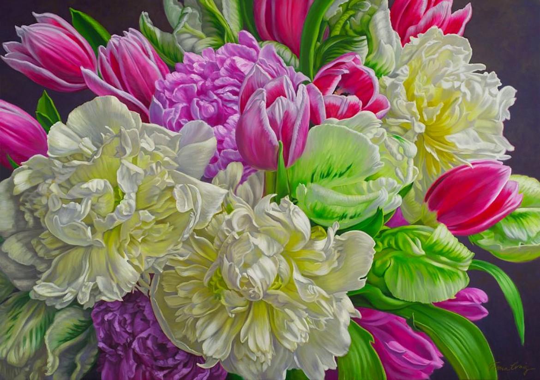 Пазл Собирать пазлы онлайн - Пионы и тюльпаны